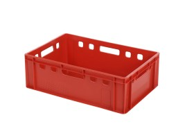 Bac gerbable E2 - rouge - Euronorm - 600 x 400 x H 200 mm (fond lisse)